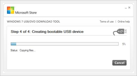 create a windows 7 bootable usb in under 9 minutes - windows 7 USB tool begin copying