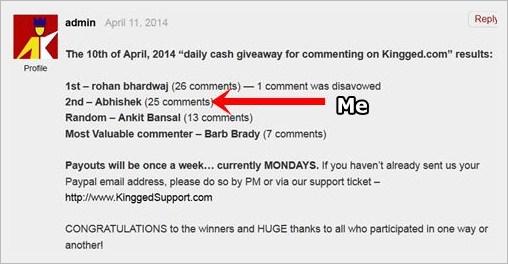 Daily Cash Giveaway on Kingged.com - make money online