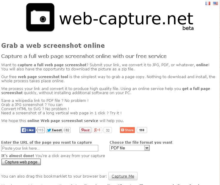 Convert webpages to pdf using web-capture.net