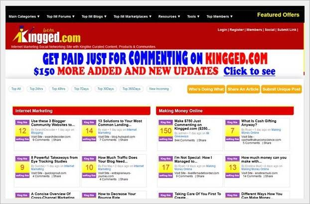 Homepage of Kingged.com - make money online