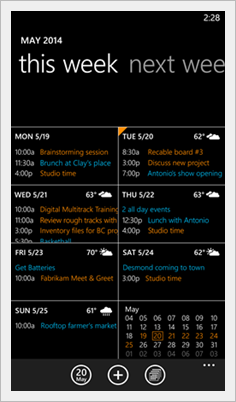 Windows Phone 8.1 Calendar