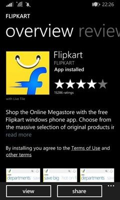 Flipkart Big App Shopping Days - Download via Windows Marketplace