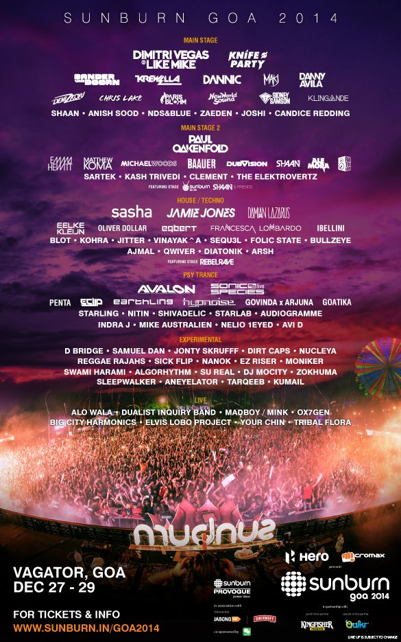 Sunburn GOA 2014, Full Line Up of Artists