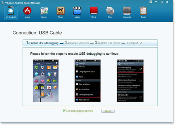 Vibosoft Android Mobile Manager - USB Debugging