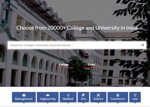 collegedunia.com review - homepage
